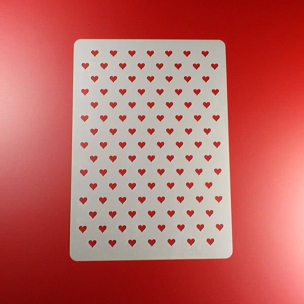 Schablone Herzen mit Datum und Wunschname auf A4